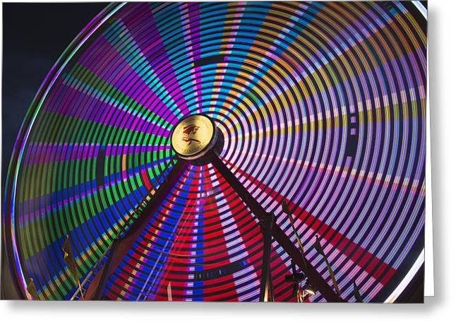 Ferris Wheel Night Photography Greeting Cards - Light Effect Of A Fairground Ride Greeting Card by Philippe Widling