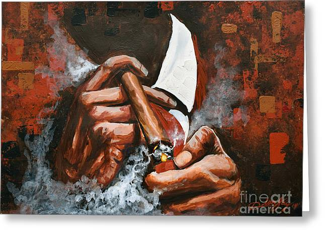 Cigar Paintings Greeting Cards - Light Em Up Greeting Card by The Art of DionJa