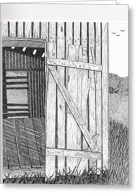 Shed Drawings Greeting Cards - Light Filtering Through Shed Greeting Card by Pat Price