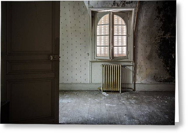 Ghost Castle Greeting Cards - Light from another room - urban exploration Greeting Card by Dirk Ercken