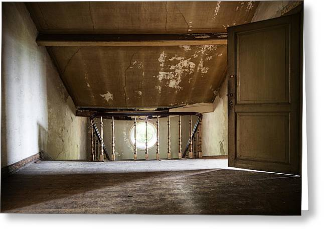 Ghost Castle Greeting Cards - Light From The Spooky Attic - Abandoned Building Greeting Card by Dirk Ercken