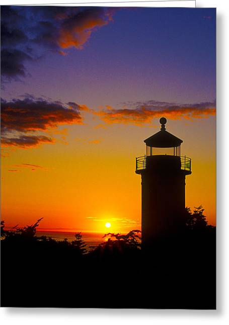 Fort Casey Greeting Cards - Light House at Fort Casey Washington Greeting Card by Gary Langley