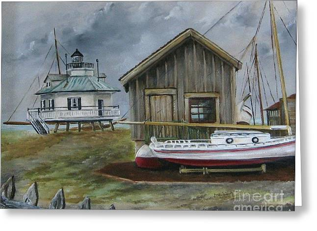 Shed Paintings Greeting Cards - Light House at St. Michaels Greeting Card by Patricia  Lang