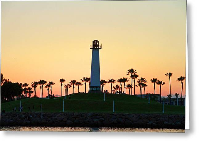 Beach House Pyrography Greeting Cards - Light House at Sunset Greeting Card by Shoal Hollingsworth