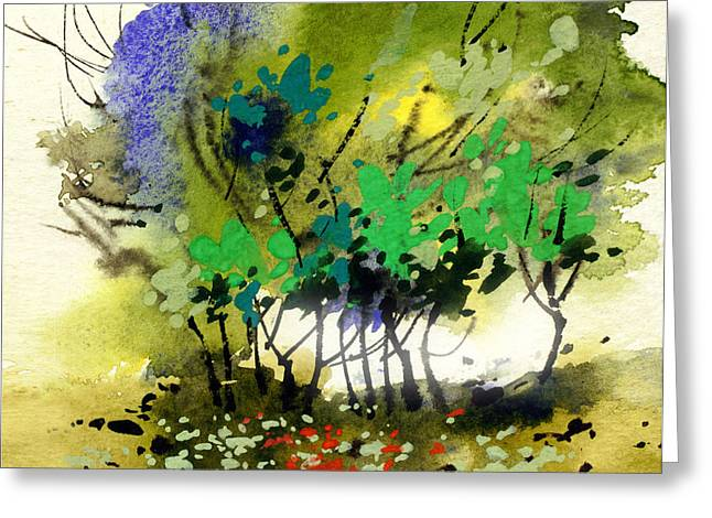 Anil Nene Greeting Cards - Light in Trees Greeting Card by Anil Nene