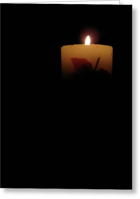 Candle Lit Pyrography Greeting Cards - Light Into Darkness Greeting Card by Jean Mungin