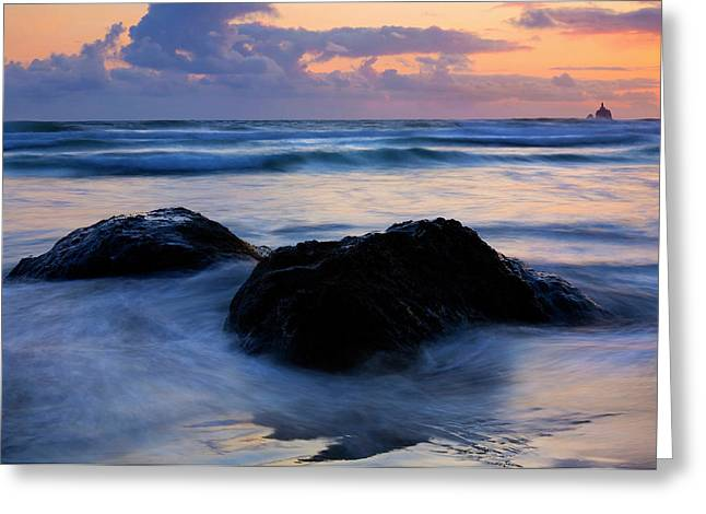 Tillamook Lighthouse Greeting Cards - Light of Dusk Greeting Card by Mike  Dawson
