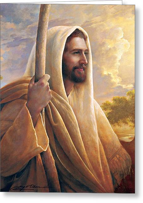 Jesus Christ Paintings Greeting Cards - Light of the World Greeting Card by Greg Olsen