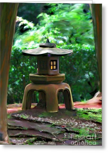 Transformative Art Greeting Cards - Light-On Pagoda Greeting Card by Lisa Redfern