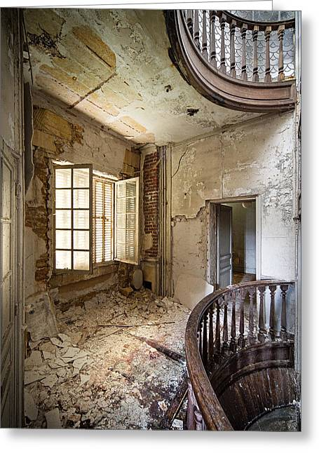 Deserted Castle Greeting Cards - Light on the balcony - abandoned castle Greeting Card by Dirk Ercken