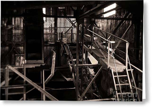 Colliery Greeting Cards - Light On the Old Steel Machine Greeting Card by Royce Howland
