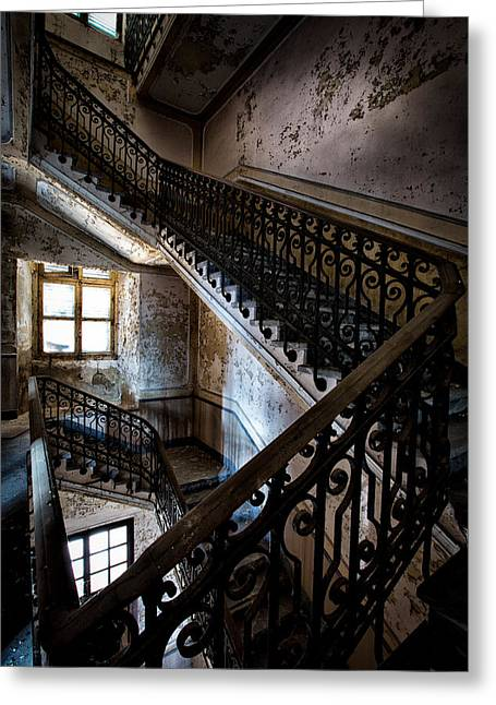 Stair Case Greeting Cards - Light on the stairs - urban exploration Greeting Card by Dirk Ercken