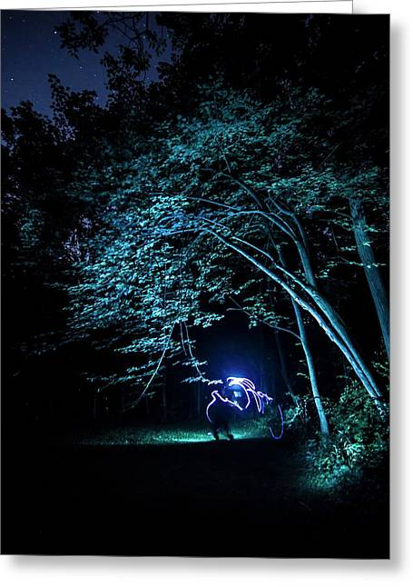 Light Painted Arched Tree  Greeting Card by Sven Brogren