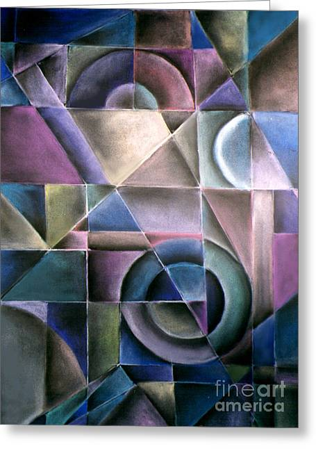 Cubist Pastels Greeting Cards - Light Patterns 1 Greeting Card by Caroline Peacock