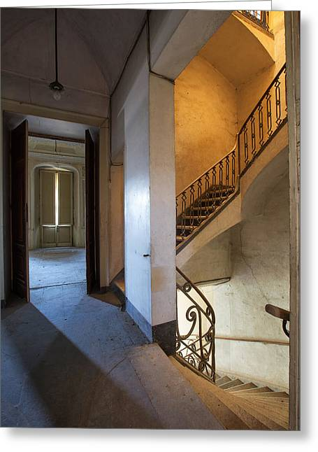 Deserted Castle Greeting Cards - Light Play In The Stairway - Abandoned Building Greeting Card by Dirk Ercken