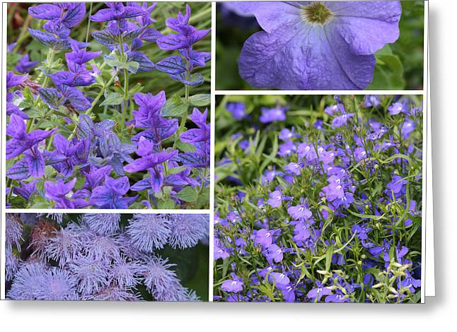 Light Purple Flowers Collage Greeting Card by Carol Groenen