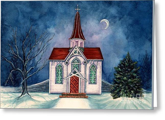 Light Shines On - Winter Country Church Greeting Card by Janine Riley