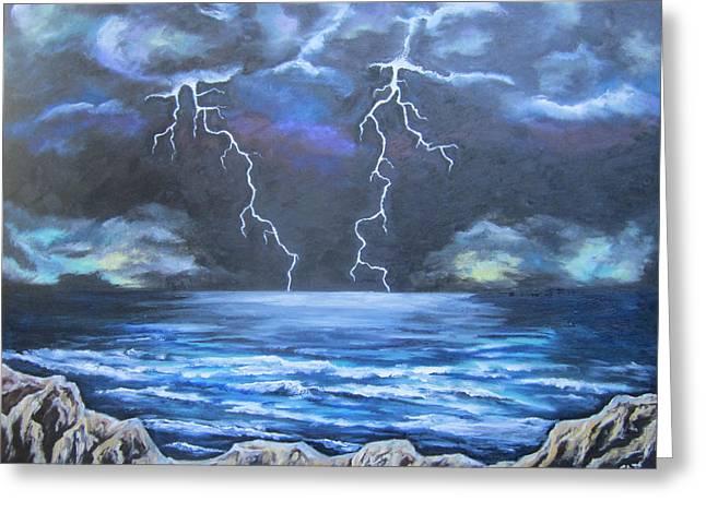 Lightning Strike Paintings Greeting Cards - Light Show Greeting Card by Cheryl Pettigrew