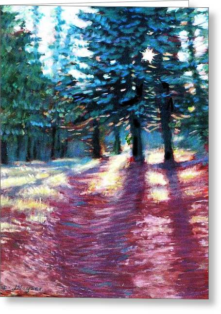 Shines Pastels Greeting Cards - Light Through The Pines Greeting Card by Julie Mayser