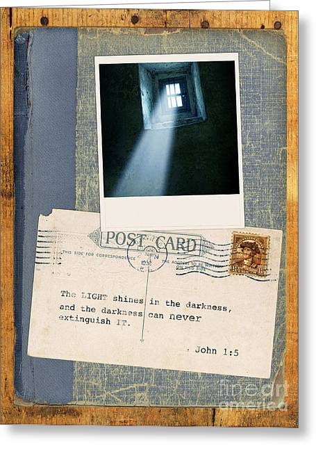 Light Through Window And Scripture Greeting Card by Jill Battaglia