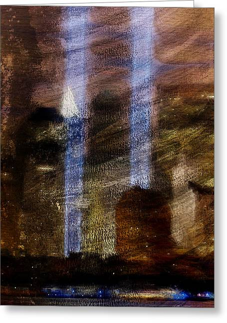 Nine Eleven Greeting Cards - Light Towers Greeting Card by Andrea Barbieri