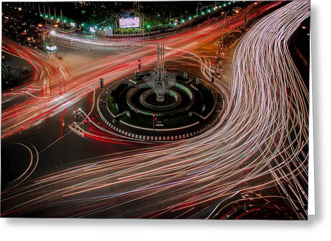 View Pyrography Greeting Cards - Light Trails Greeting Card by Azim Khan Ronnie