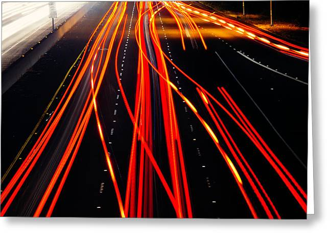 Light Trails Greeting Card by Garry Gay