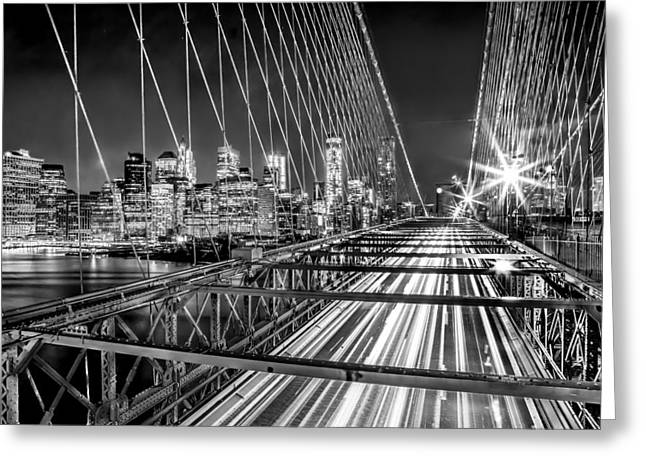 Famous Bridge Greeting Cards - Light Trails Of Manhattan Greeting Card by Az Jackson