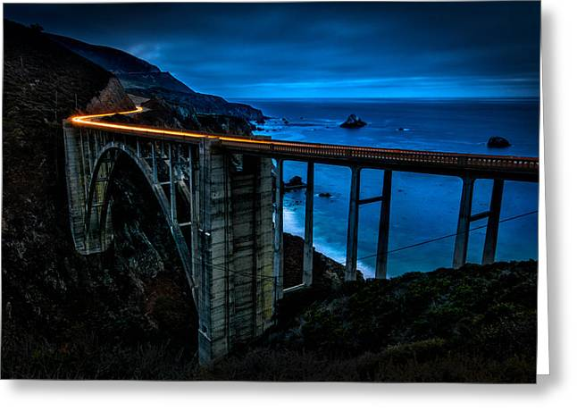 Bixby Bridge Greeting Cards - Light Trails on Bixby Bridge Greeting Card by Paul Sommers