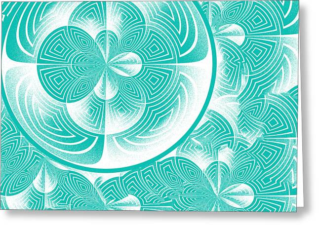 Light Turquoise Abstract Greeting Card by Gaspar Avila