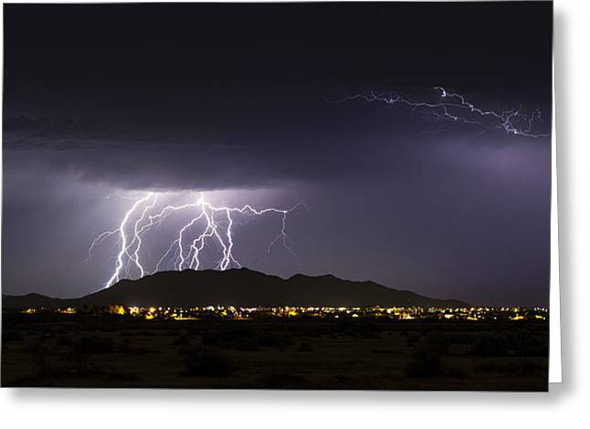 Monsoon Clouds Greeting Cards - Light Up the Night Greeting Card by Saija  Lehtonen