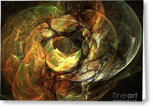 LIghted Orbs Greeting Card by Ron Bissett