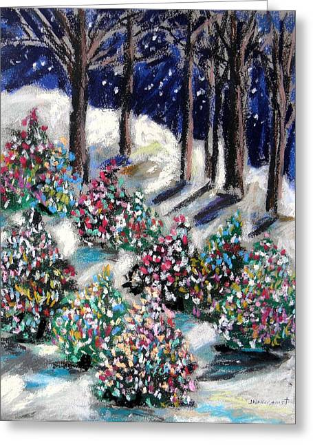 Fir Trees Pastels Greeting Cards - Lighted Path Greeting Card by John  Williams
