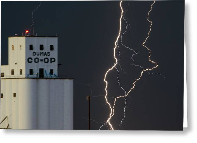 Lightening Greeting Cards - Lighten Strike at the Co Op Greeting Card by Gary Langley