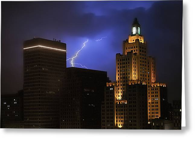 Lightening Over Providence Greeting Card by Vicki Jauron