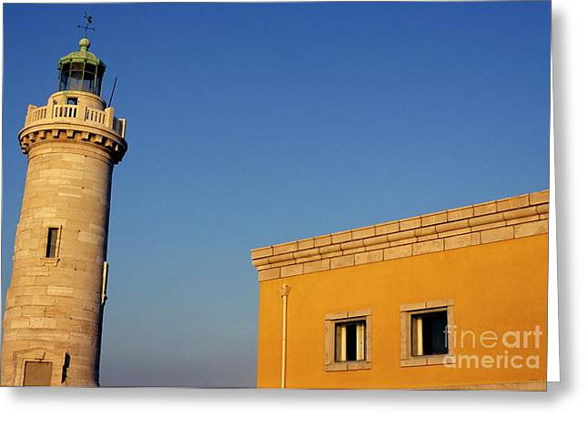 Lighthouse And Yellow Building At The Entrance Of The Port Of Marseille Greeting Card by Sami Sarkis