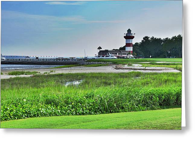 Lighthouse At Harbour Town Greeting Card by Lyle  Huisken