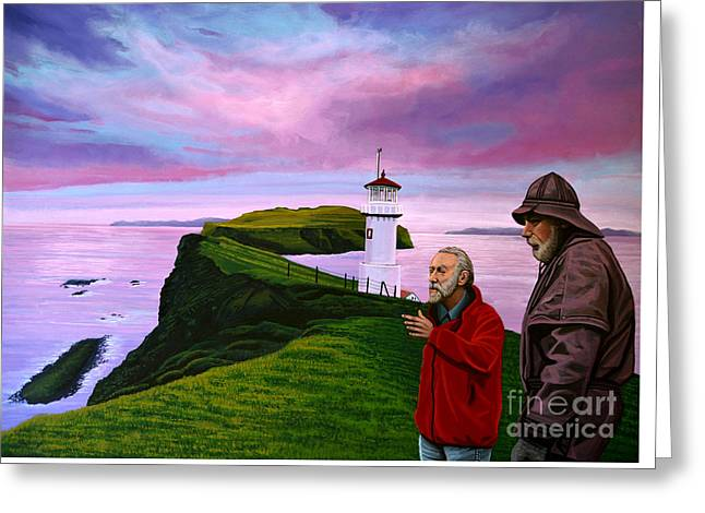Puffins Greeting Cards - Lighthouse at Mykines Faroe Islands Greeting Card by Paul Meijering