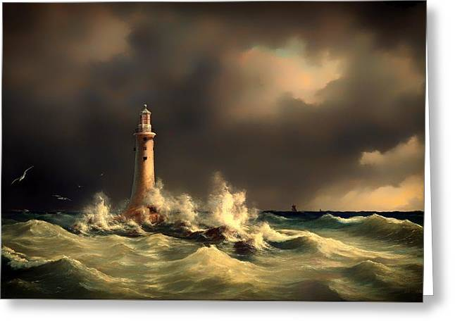 Storm. Rain. Oil On Canvas Greeting Cards - Lighthouse At Stora Balt Greeting Card by Anton Melbye