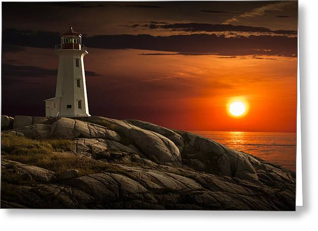 Randy Greeting Cards - Lighthouse at Sunset in the Peggys Cove Greeting Card by Randall Nyhof