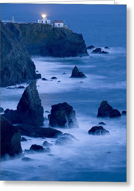 Marin County Greeting Cards - Lighthouse at Twilight Greeting Card by Kerry Drager