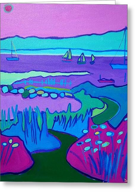 Recently Sold -  - Blue Sailboats Greeting Cards - Lighthouse Beach Path Edgartown Greeting Card by Debra Bretton Robinson