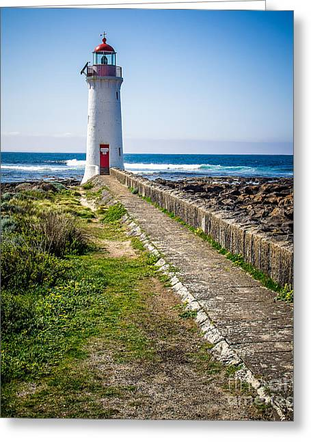 Lighthouse Beach Greeting Card by Perry Webster