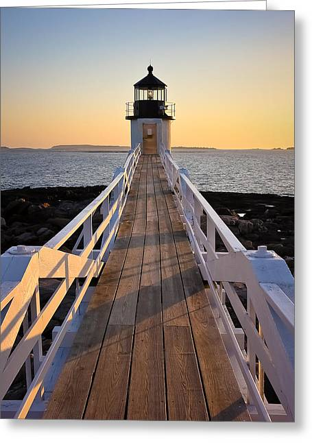 New England Ocean Greeting Cards - Lighthouse Boardwalk Greeting Card by Benjamin Williamson