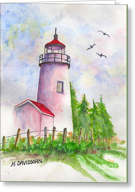 Lighthouse Greeting Card by Harriet Davidsohn
