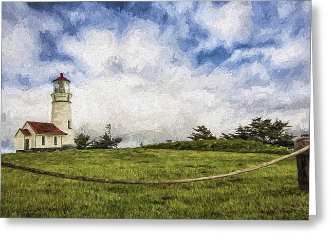Lighthouse In The Clouds II Greeting Card by Jon Glaser