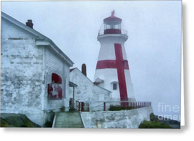 Lighthouse In The Fog Greeting Card by Edward Fielding