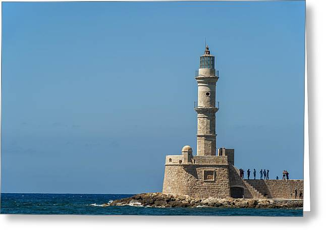 Buildings In The Harbor Greeting Cards - Lighthouse In The Venetian Harbour Greeting Card by Dosfotos