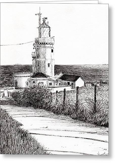 Lighthouse Isle Of Wight Greeting Card by Vincent Alexander Booth