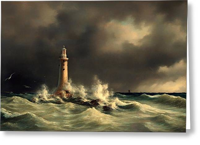 Stormy Weather Greeting Cards - Lighthouse Of The Great Belt Greeting Card by Anton Melbye
